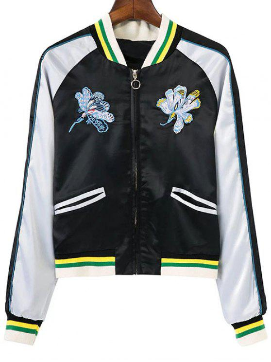 buy Floral Embroidery Souvenir Jacket - WHITE AND BLACK S