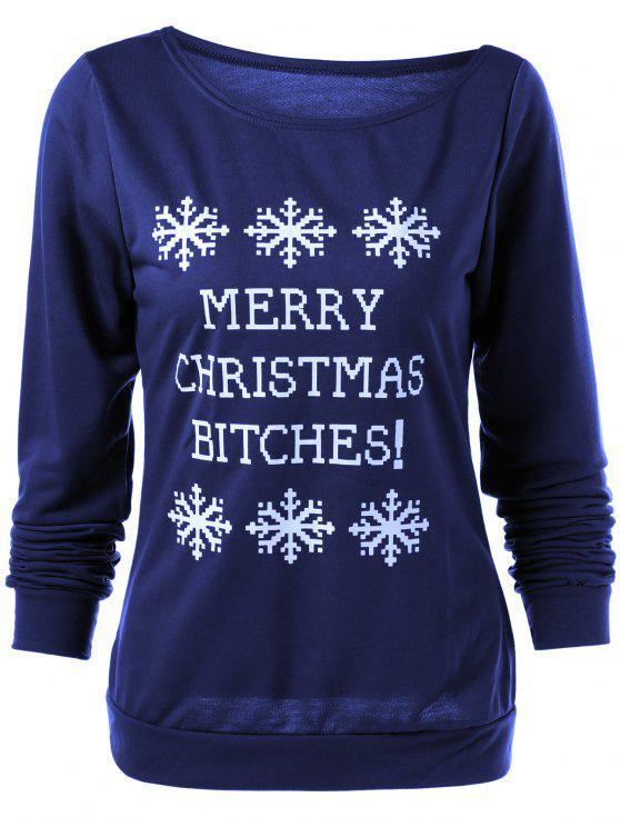 عيد ميلاد سعيد ندفة الثلج طباعة البلوز - ازرق غامق S