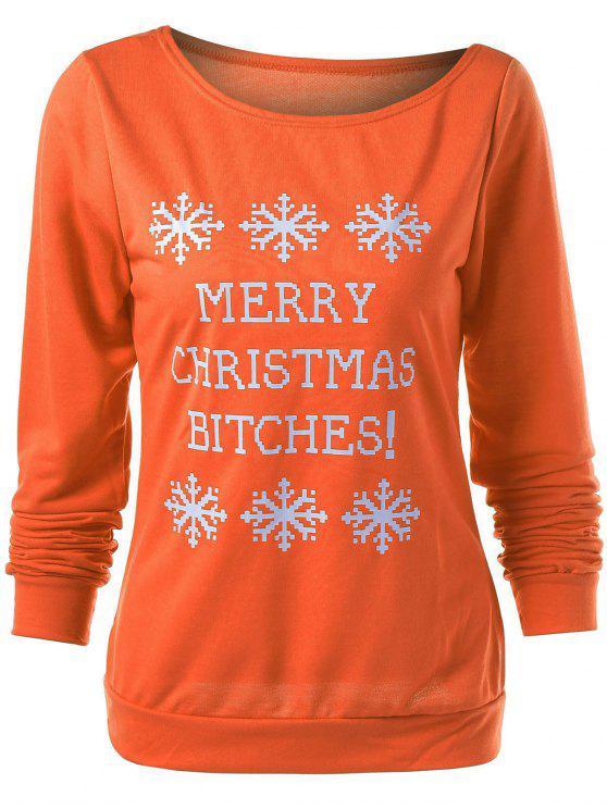 سويت شيرت مرسوم كريسماس طباعة - البرتقالي S