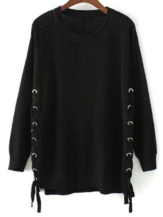buy Lace Up Hem Open Knit Sweater - BLACK M