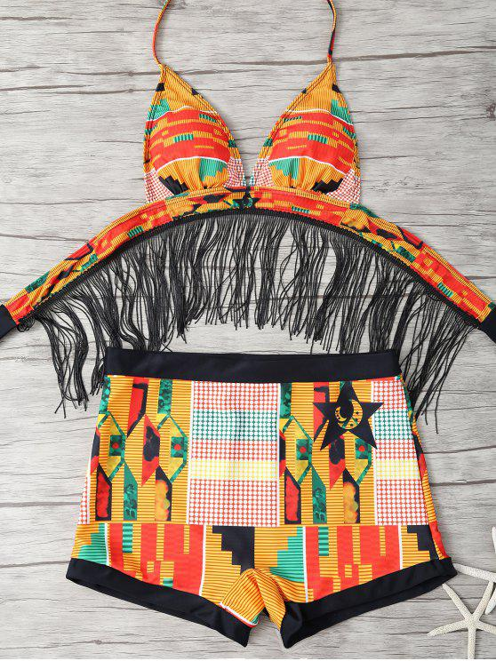 5ace28e55eb 23% OFF  2019 Fringed Printed Cut Out African Print Bathing Suit In ...