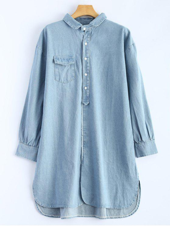 0f541a39a6b 28% OFF  2019 High Low Long Sleeve Denim Shirt Dress In LIGHT BLUE ...