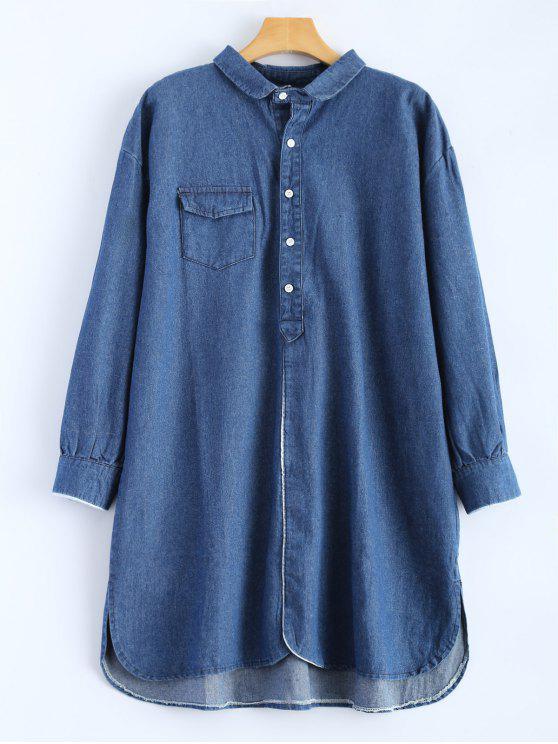05e25f261c 37% OFF  2019 High Low Long Sleeve Denim Shirt Dress In DEEP BLUE ...