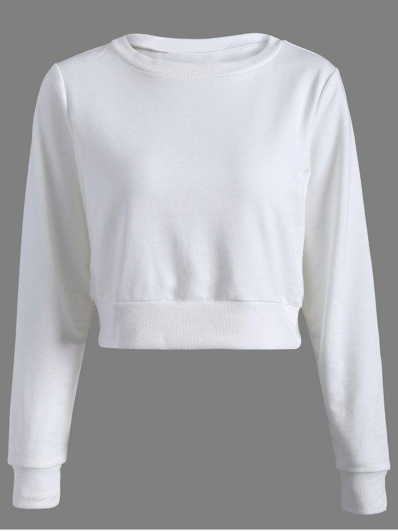 chic Casual Sports Cropped Sweatshirt - WHITE XS