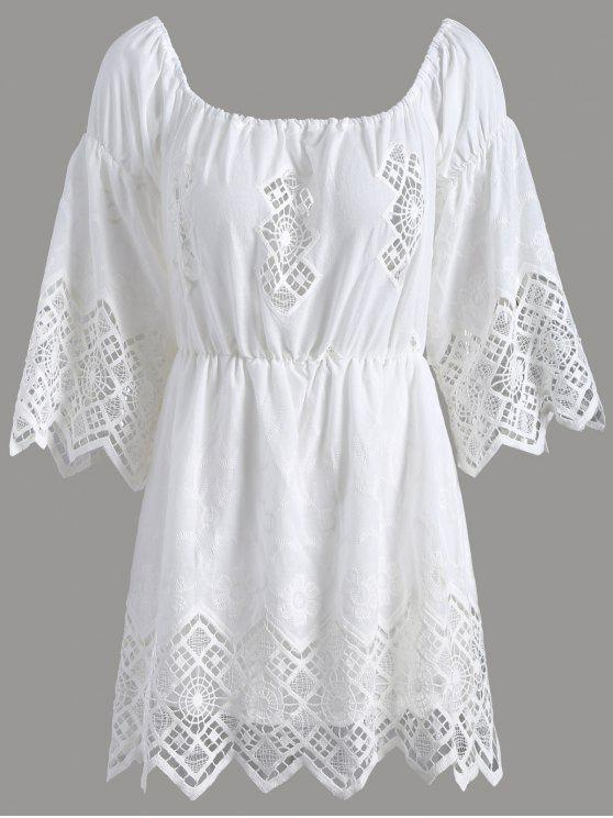 Combinaison épaules dénudée en dentelle - Blanc XL