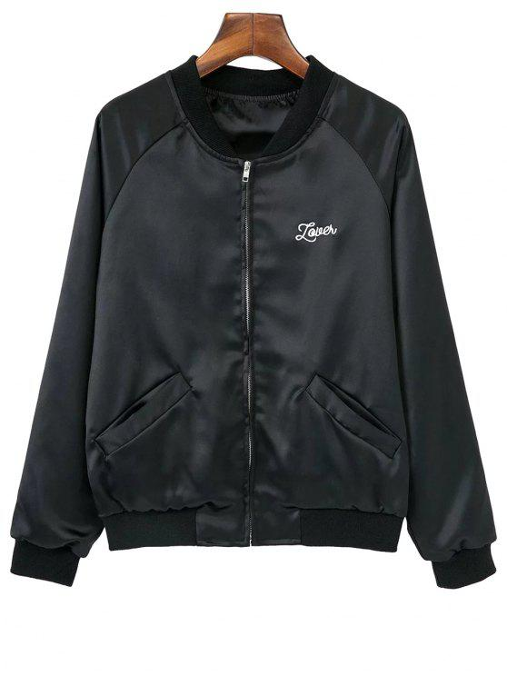 lady Love Heart Embroidered Bomber Jacket - BLACK L