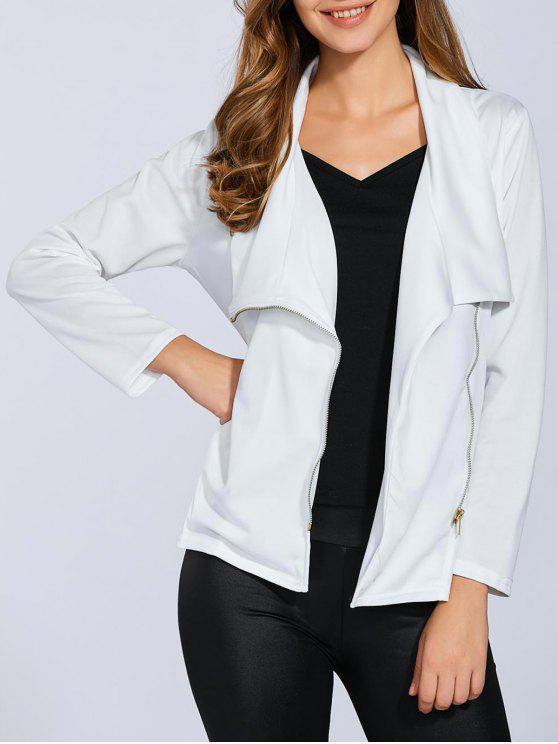 fashion Folded Zippered Asymmetric Jacket - WHITE XL