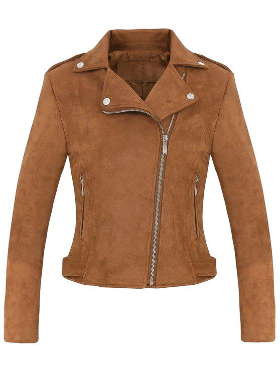 outfit Cropped Faux Suede Biker Jacket - BROWN S