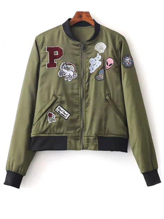 fashion Quilted Patched Bomber Jacket - GREEN S