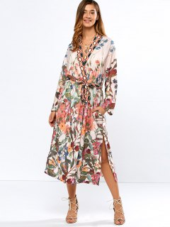 Belted Printed Longline Open Kimono - S