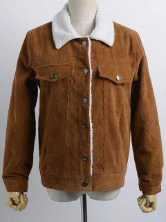 Buttoned Corduroy Shearling Jacket - Brown M