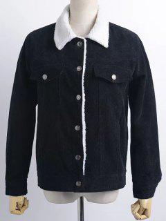 Buttoned Corduroy Shearling Jacket - Black M