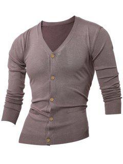 Slimming V Neck Button Up Cardigan - Khaki L