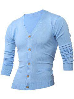 Slimming V Neck Button Up Cardigan - Light Blue L