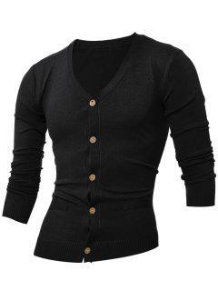 Slimming V Neck Button Up Cardigan - Black L