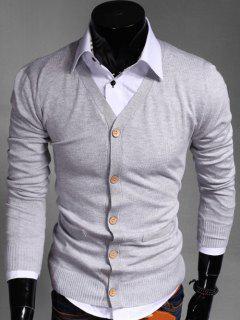 Slimming V Neck Button Up Cardigan - Light Gray L