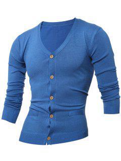 Slimming V Neck Button Up Cardigan - Sapphire Blue Xl