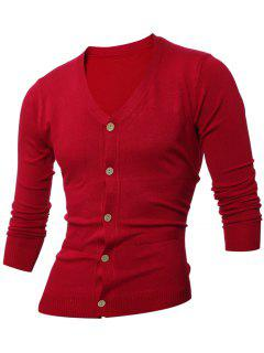 Slimming V Neck Button Up Cardigan - Wine Red L