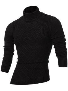Rhombus Jacquard Turtle Neck Long Sleeves Sweater - Black M
