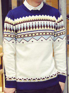 Rib Hem Zigzag Pattern Crew Neck Sweater - Blue L