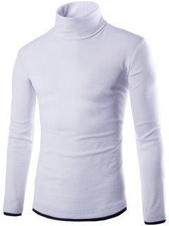 Faux Twinset Design High Neck Long Sleeve Knitwear - White 2xl