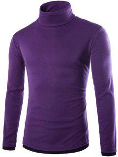 Faux Twinset Design High Neck Long Sleeve Knitwear - Purple Xl