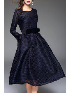 Belted Ribbed Long Sleeve Tea Length Dress - Deep Blue M