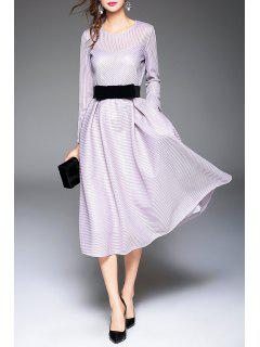 Belted Ribbed Long Sleeve Tea Length Dress - Light Purple M