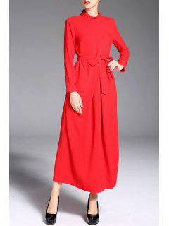 Long Sleeve Maxi Dress - Red S