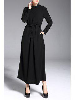 Long Sleeve Maxi Dress - Black M