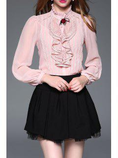 Lace Ruffle Blouse Avec Cami Top - Rose  S