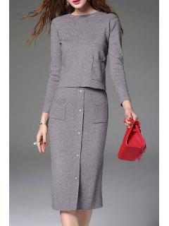 Knitted Sweater And Button Front Midi Skirt - Gray L