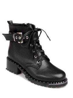 Rivets Buckle Strap Tie Up Ankle Boots - Black 38