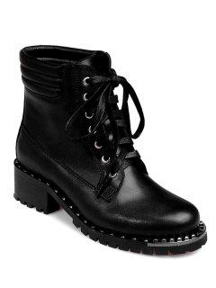 Lace-Up Rivets PU Leather Ankle Boots - Black 37