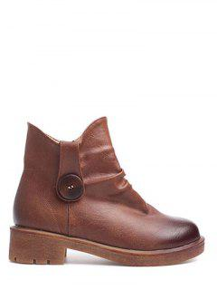Button Chunky Heel Zipper Ankle Boots - Brown 38