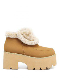 Chunky Heel Zipper Platform Ankle Boots - Light Brown 38