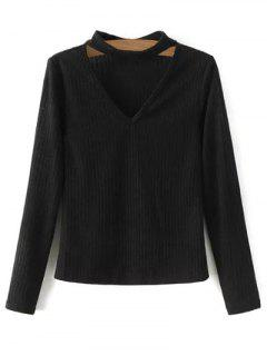 Cutout V Neck Choker Jumper - Black L