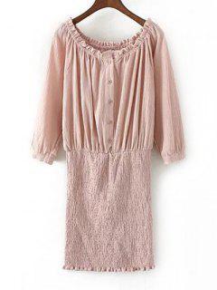 Off The Shoulder Blouson Dress - Rose PÂle S