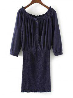 Off The Shoulder Blouson Dress - Bleu Violet M