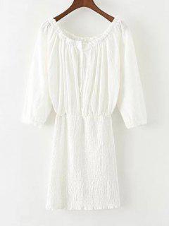 Off The Shoulder Blouson Dress - Blanc S