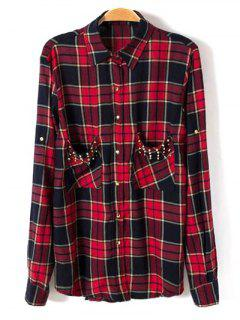 Studded Checked Shirt - Red M