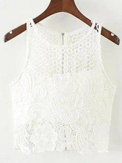 Crochet Flower Rembourrée Crop Top - Blanc L