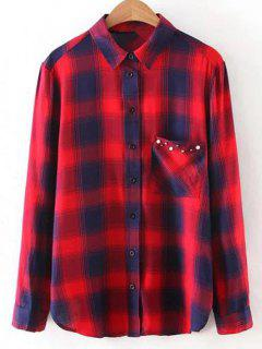 Checked Patch Pocket Shirt - Red L