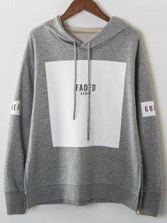 Zip Hem Panelled Oversized Hoodie - Gray
