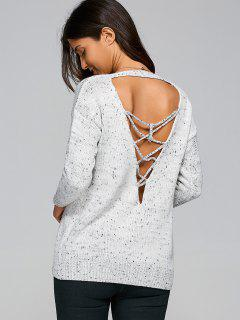 Back Plunging V Lace Up Oversized Knitwear - Light Gray