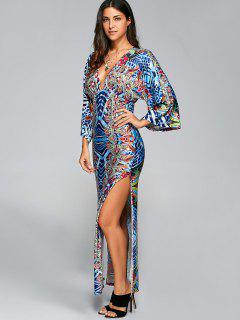 Retro Print Low Cut Bohemian Slit Maxi Dress - S