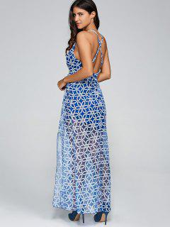 Plunging Neck Criss Back Slit Maxi Dress - Blue S