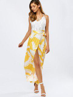 Lace Spliced Back Criss-Cross Cami Dress - Yellow S