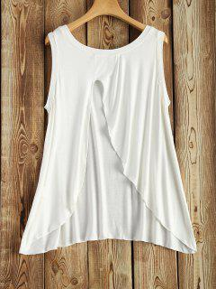 Back Slit Asymmetric Tank Top - White S