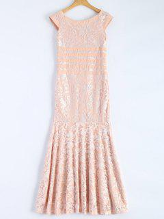 Maxi Lace Mermaid Gwon Prom Dress - Nude Pink Xs